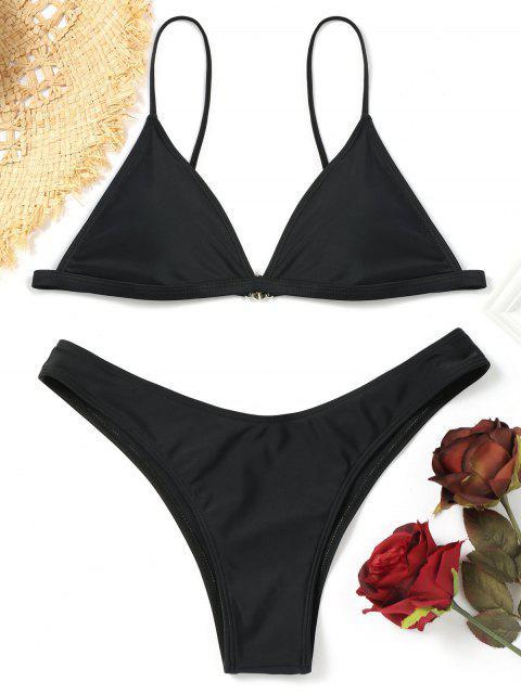 buy Padded Bikini Top with Thong Bottoms - BLACK S Mobile