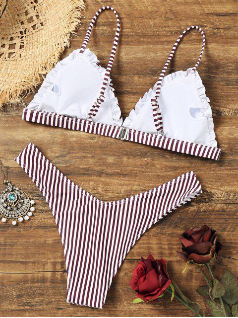 Conjunto de bikini de tanga a rayas con volantes - Raya S Mobile