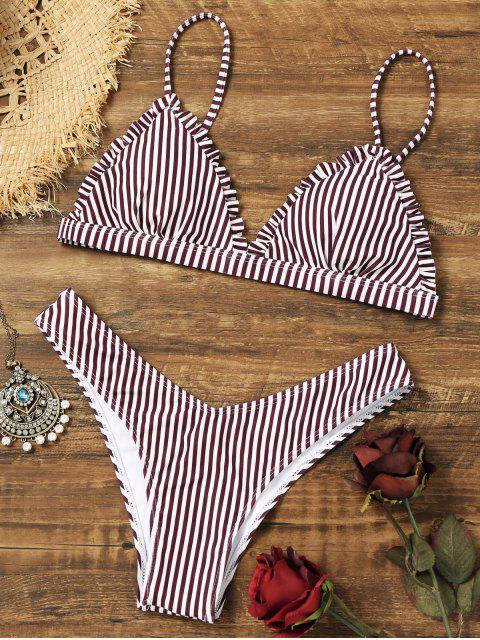 shops Frilled Striped Thong Bikini Set - STRIPE M Mobile