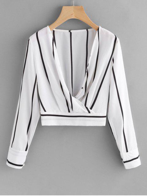 women's Crossed Front Stripes Blouse - WHITE M Mobile