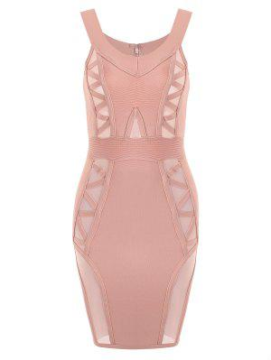 Off Shoulder Mesh Panel Bandage Dress