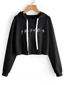 Drawstring Loose Letter Cropped Hoodie