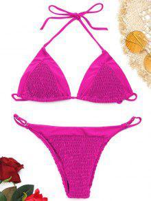 Neckholder Smocked String Bikini Set - Rosa S