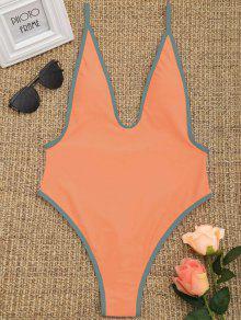 Contrast Trim High Cut Swimsuit - Rosa De Laranja  S