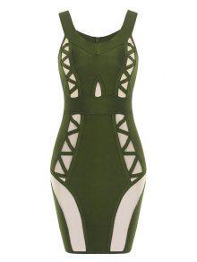 فستان الضمادة شبكي بلا اكتاف - الجيش الأخضر S