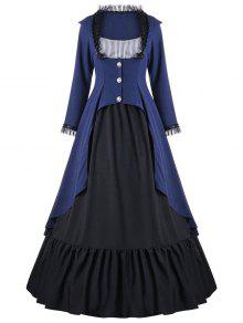 فستان ماكسي من الدانتيل مع تقليم - أزرق 2xl