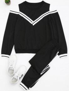 Sudadera Cold Shoulder Y Conjunto De Pantalones Deportivos - Negro S