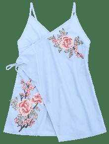 Bordado Azul Con Bowknot Minivestido Patches S Pliegues Claro z68qw6a