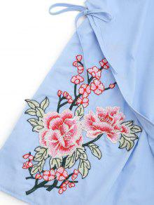 Claro Minivestido Patches Bowknot Pliegues Azul Con Bordado S vq8UqraY