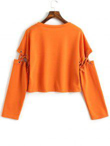 Out Sweatshirt Naranja L Cut Up Lace RBYZwqq8S