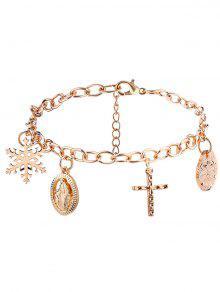 Christmas Snowflake Crucifix Jesus Charm Bracelet