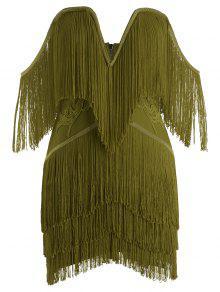 فستان الضمادة بلا الشريط هامشي - الجيش الأخضر