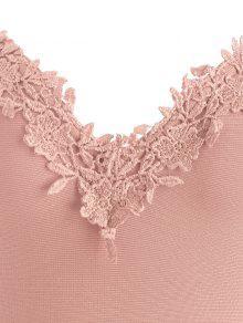 schulterfreies spitzen panel verbandkleid pink bandage kleid l zaful. Black Bedroom Furniture Sets. Home Design Ideas