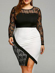 Plus Size Spitzen Langarm Bodycon Kleid - Schwarz 5xl