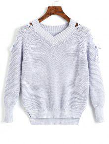V-Ausschnitt Raglanärmel Lace Up Sweater - Grau Blau