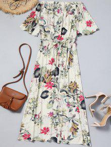 فستان ماكسي بلا اكتاف ذو فتحات طباعة الازهار - أبيض فاتح L