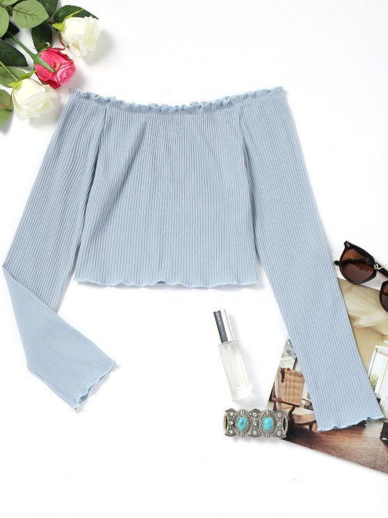 womens Piped Ribbed Off Shoulder Top - LIGHT BLUE L