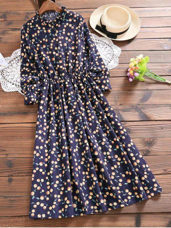 فستان بنصف الزر كشكش الرقبة - الأرجواني الأزرق L