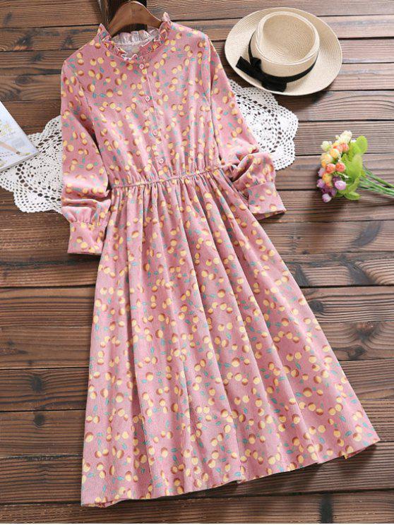 فستان بنصف الزر كشكش الرقبة - جلد وردي S
