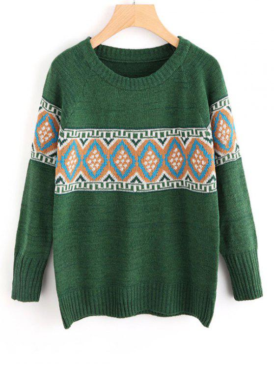 outfits Geometric Graphic Sweater - GREEN ONE SIZE