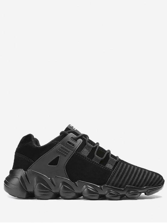 Stitching Striped Lace Up Sneakers - Preto 44