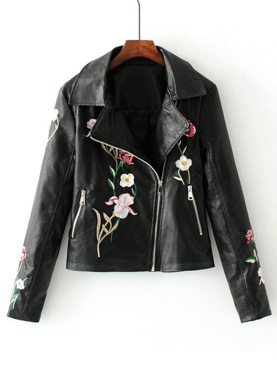 best Faux Leather Floral Embroidered Biker Jacket - BLACK M