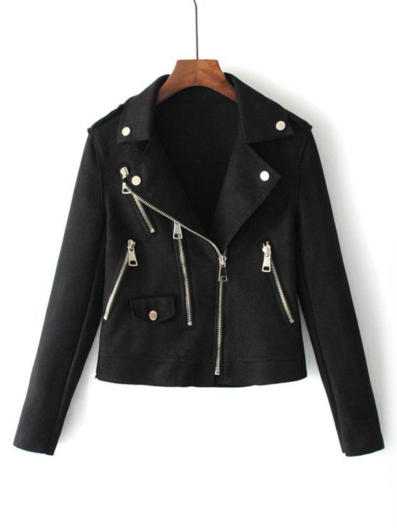 affordable Zip Up Faux Suede Motorcycle Jacket - BLACK L