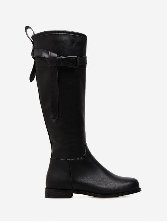 ad9cae011b22 38% OFF  2019 Buckle Strap Flat Heel PU Leather Mid Calf Boots In ...
