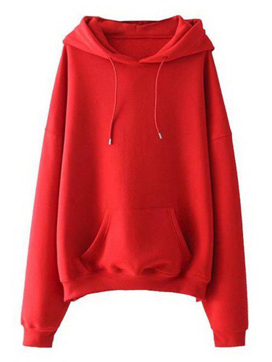 343814e671f77 39% OFF  2019 Drawstring Oversized Hoodie In RED