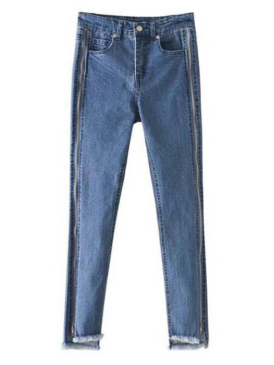 Zippered Frayed Hem Pencil Jeans - Azul Denim 36