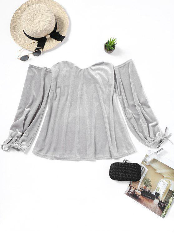 online Velvet Off Shoulder Blouse - GRAY M
