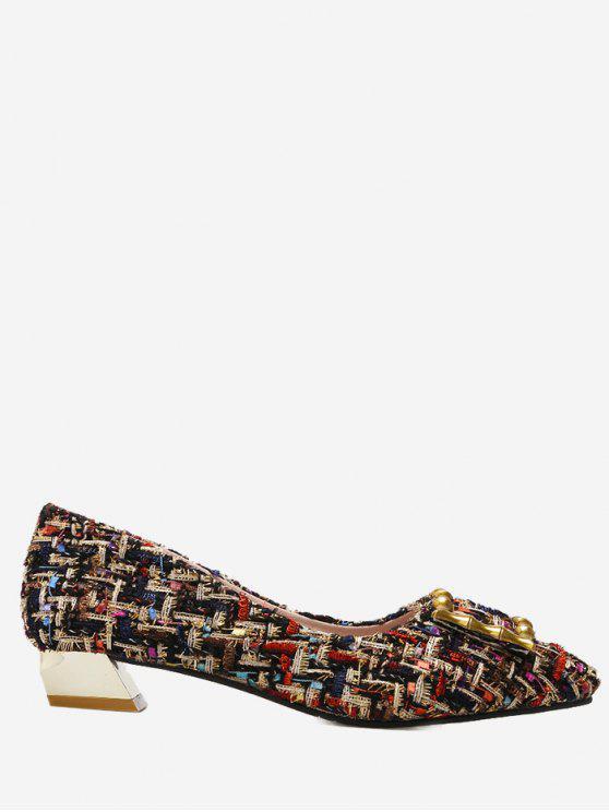 trendy Low Heel Color Block Metal Pumps - RED 38