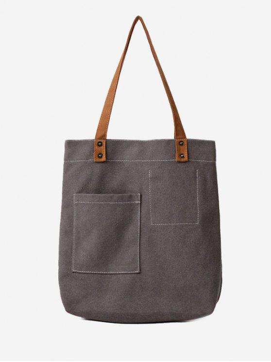 Stitching Geometric Canvas Shoulder Bag - Cinza