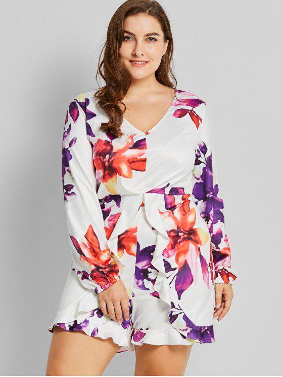 ladies Ruffles Floral Plus Size Romper - WHITE 4XL