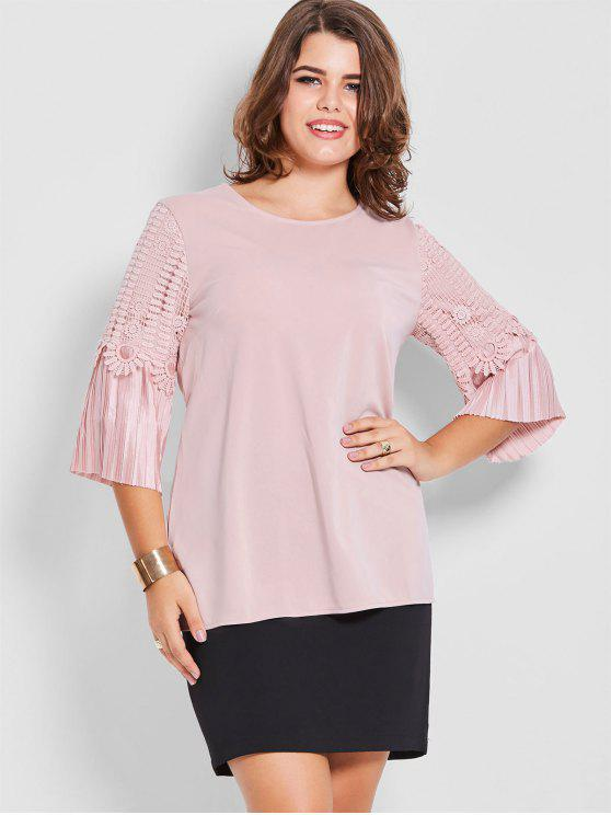 hot Plus Size Crochet Pleated Sleeve Top - PINK 3XL