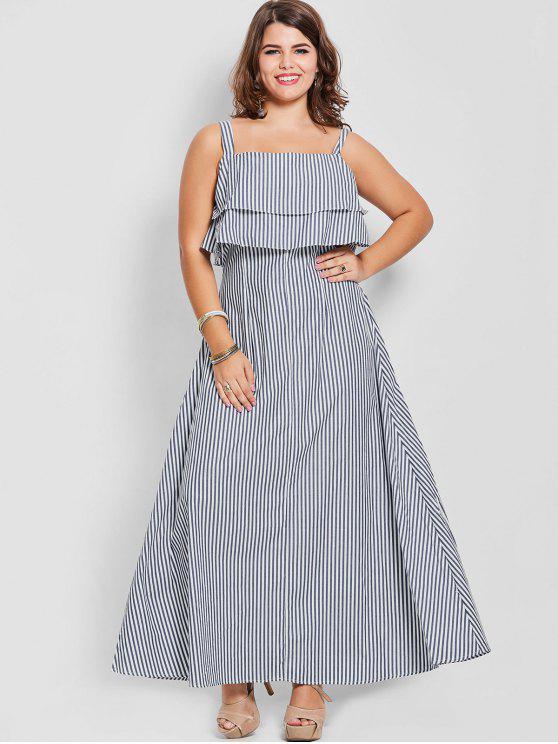 36% OFF] 2019 Overlay Plus Size Striped Maxi Dress In STRIPE | ZAFUL