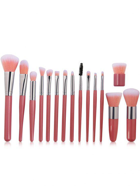 best 15Pcs Ultra Soft Synthetic Fiber Hair Makeup Brush Set - PINK