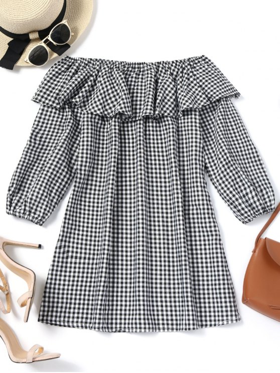 trendy Plaid Ruffles Off Shoulder Mini Dress - CHECKED S