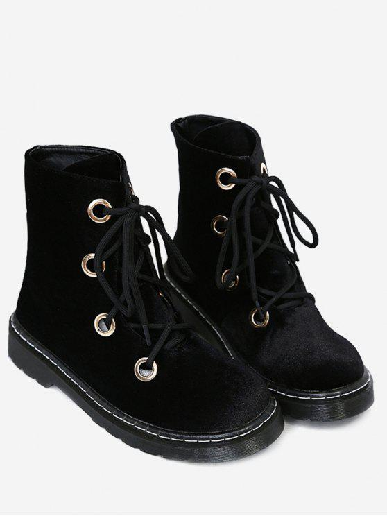 dd2d29c364756 37% OFF] 2019 Flat Heel Velvet Ankle Boots In BLACK | ZAFUL