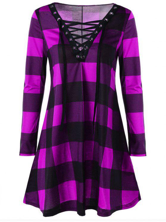 فستان الحجم الكبير منقوش رباط - البنفسجي وردة 5XL