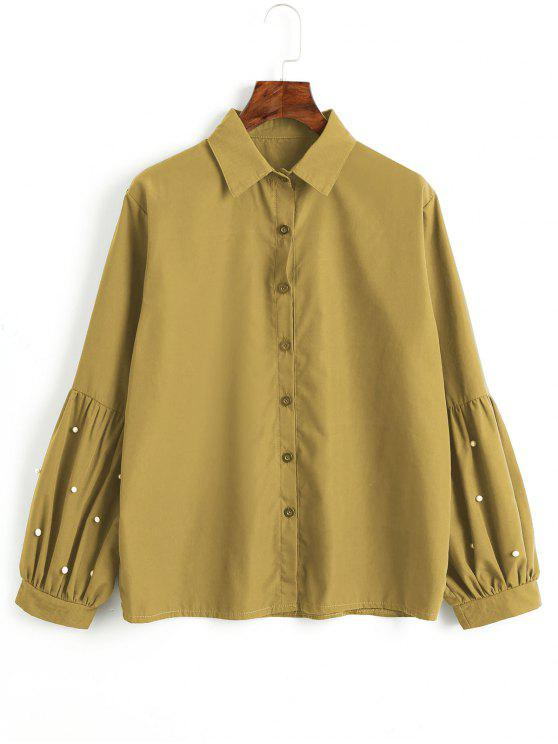 women's Button Down Faux Pearls Shirt - MUSTARD S