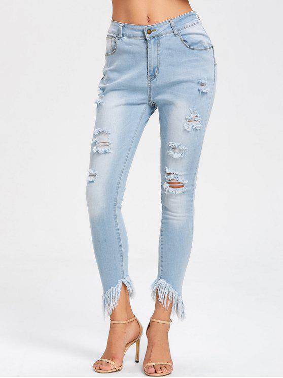 fancy Raw Hem Distressed Skinny Jeans - LIGHT BLUE L
