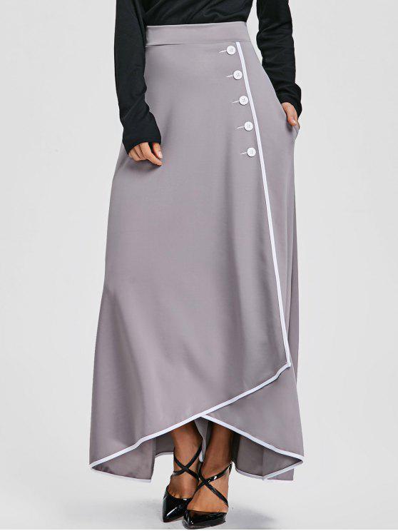 855910900adc0 35% OFF] 2019 Buttons High Waist Maxi Asymmetric Skirt In GRAY | ZAFUL