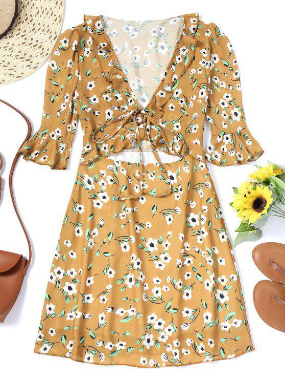 فستان مصغر ذو فتحات كشكش طباعة الأزهار - خردل M