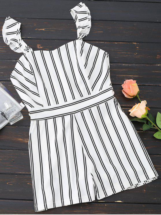 sale Ruffled Striped Sweetheart Romper - WHITE XL