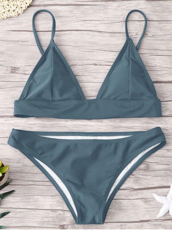 latest ZAFUL Padding Bikini Set - BLUE GRAY M