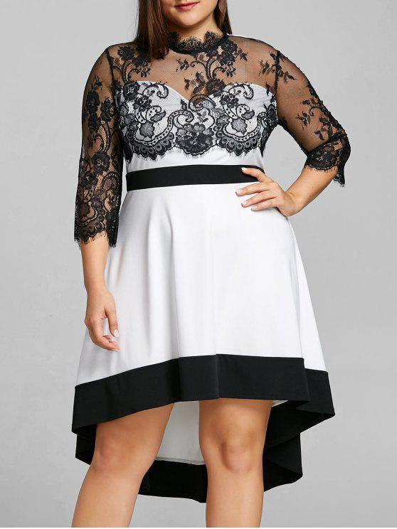 فستان بحافة متباينة الطول ذو مقاس كبير - أبيض 5XL