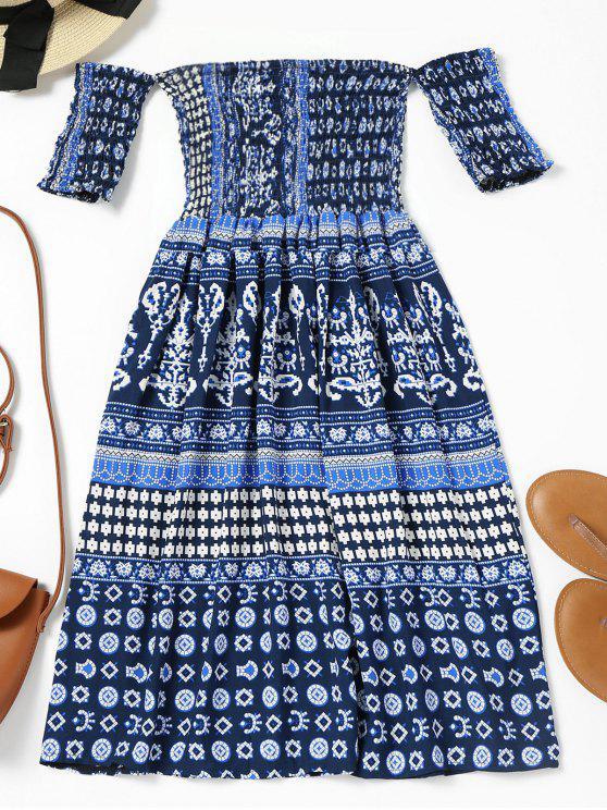 lady Off Shoulder Smocked Printed Flare Dress - DEEP BLUE S