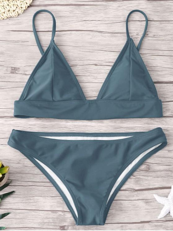 trendy ZAFUL Padding Bikini Set - BLUE GRAY S