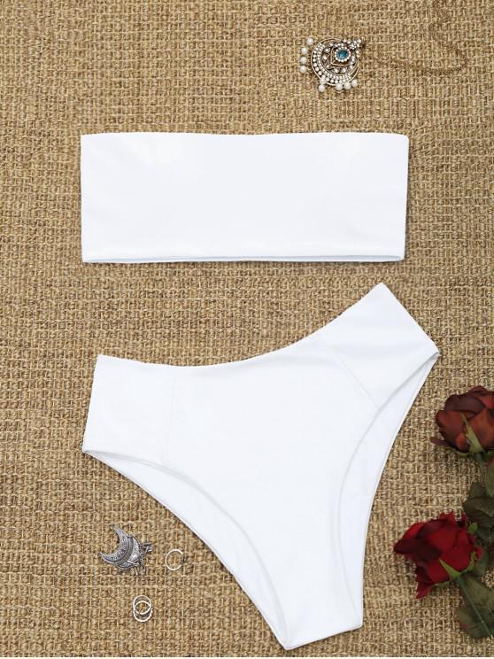 best High Cut Bandeau Bathing Suit - WHITE M